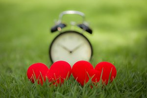 Red love heart and time