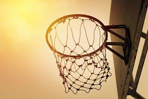 Basketball hoop. Vintage filter