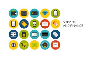 Flat icons set - Shopping and Finans