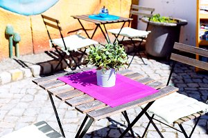 Colorful coffee shop in Mertola