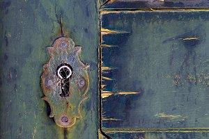 Ancient lock on door, Portugal