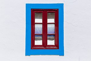 Detail of colorful window, Portugal