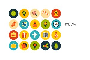 Flat icons set - Holiday