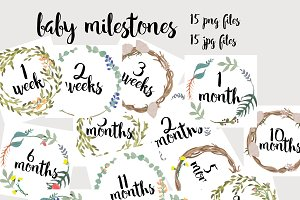 Watercolor Baby Milestones