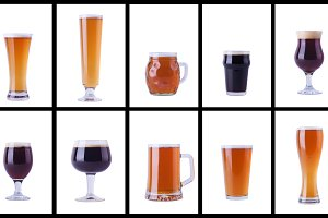 Beer glasses on white