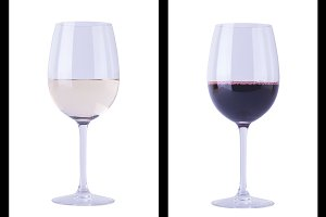 Wine glasses on white