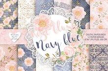 Rose blush Navy blue digital paper