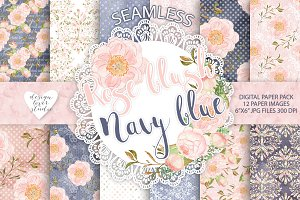 Rose blush Navy blue digital paper