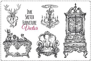 Vintage furniture ink. vector