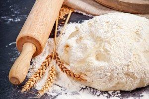 Baker cooking dough.