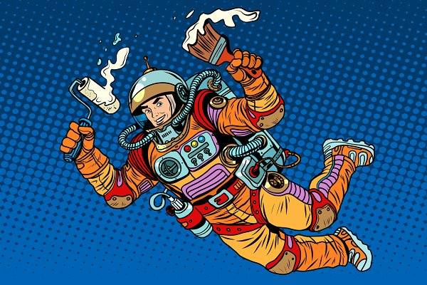 Astronaut with paint