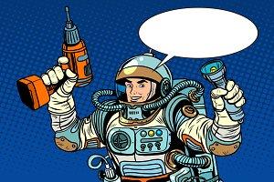 Astronaut drill and flashlight