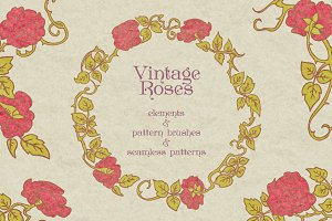 Vintage roses elements & brushes