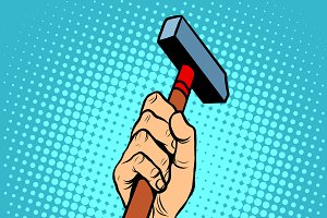 Hand with hammer vector illustration