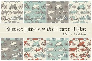 11 Patterns with old cars and bikes