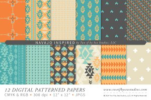Navajo Inspired  – 12 Digital Papers