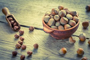 Rustic bowl of hazelnuts