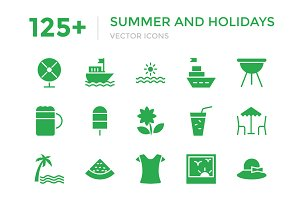 125+ Summer & Holidays Vector Icons