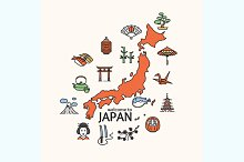 Japan Concept Travel. Vector