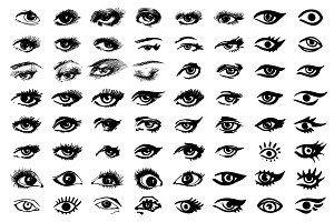 Collection of eyes icons and symbols
