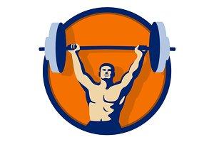 Weightlifter Lifting Barbell Circle