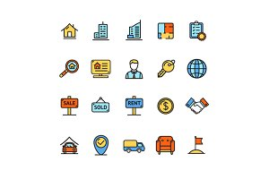Real Estate Icon Color Set. Vector