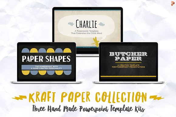kraft paper powerpoint bundle presentation templates creative market