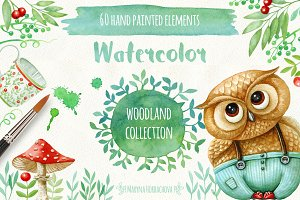Watercolor woodland DIY elements.