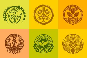 Agriculture design symbol elements