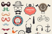 Hipster elements and icons set.