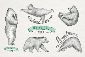 Set of Hand drawn graphic bears