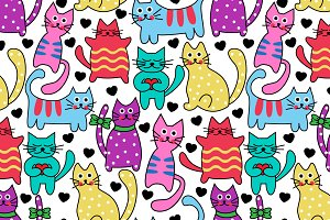 Cartoon seamless colorful cats