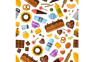 Pastry and bakery seamless pattern