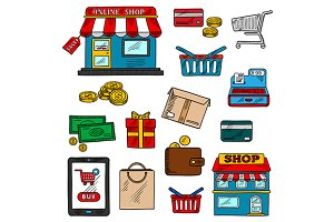 Shopping, business and retail icons