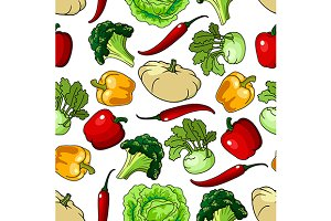 Healthy vegetables seamless pattern