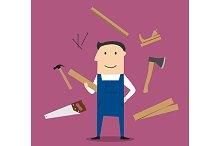Carpenter man and professional tools