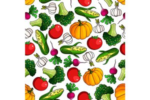 Fresh farm veggies seamless pattern