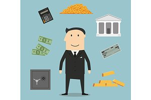 Banker profession and finance icons