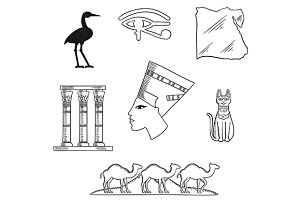 Ancient Egypt sketch icons