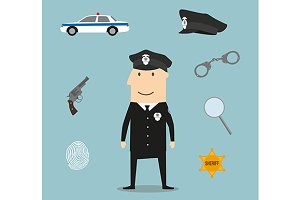 Police profession icons and symbols