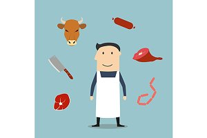 Butcher man and meat icons
