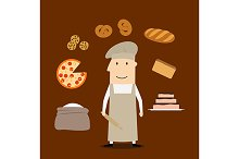 Baker man with pastry and bakery