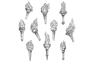 Antique burning torches