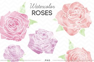 Watercolor Flowers Roses Clip Art