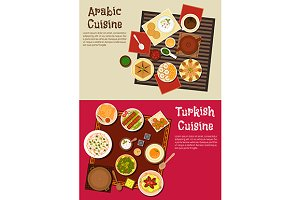 Arabian and turkish cuisine dishes