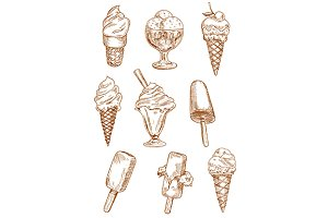 Ice cream desserts sketches set