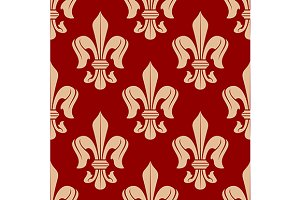 Medieval floral seamless pattern