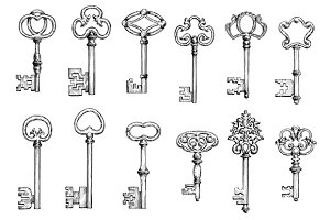 Old skeleton keys sketches set
