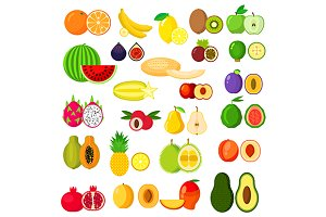 Flat whole and halves of fruits