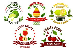 Organic farm fresh fruits emblems